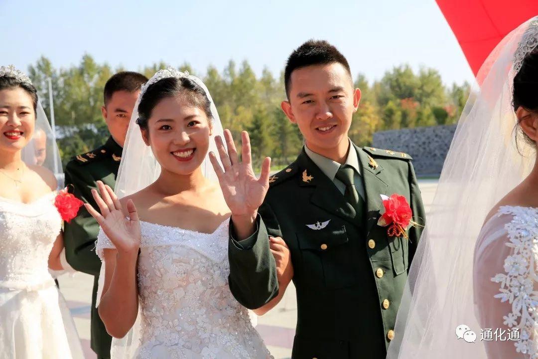 驻通某部32对官兵新人举行集体婚礼,喜迎新中国成立70周年