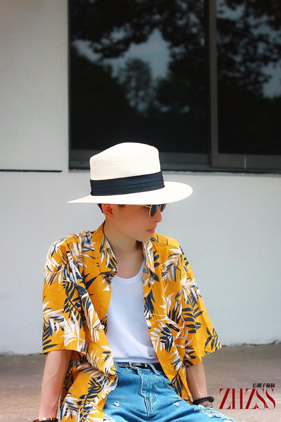 【男士】夏日黄色树叶印花衬衫