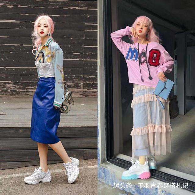 这位小姐姐太炫酷了,一头粉色发型+亮色look,想不吸睛都难