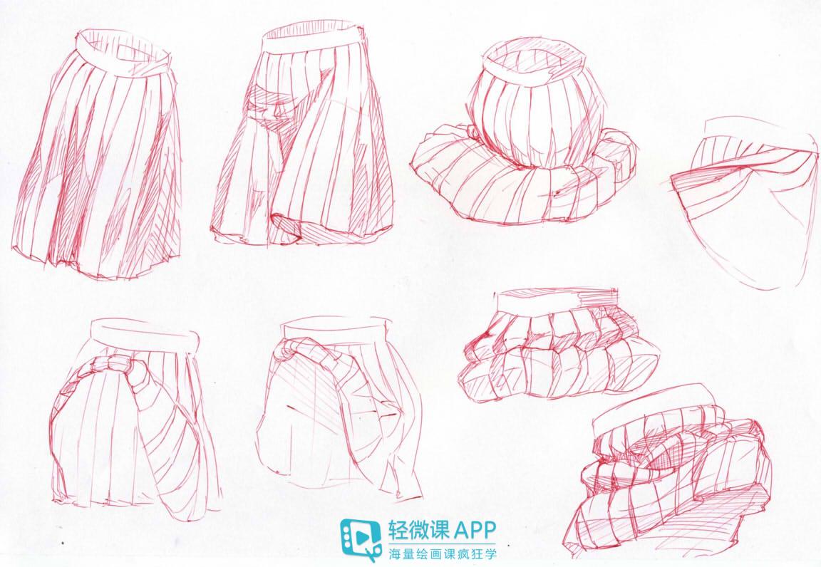 日系漫画人物少女百褶裙画法——轻微课绘画教程
