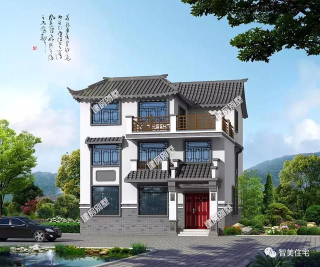 新中式风格的农村别墅,白墙灰瓦设计,自建房中的一股清流