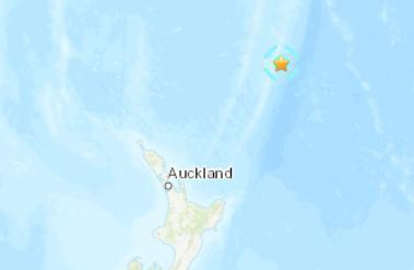 新西兰东北部海域发生6.0级地震 震源深度35千米