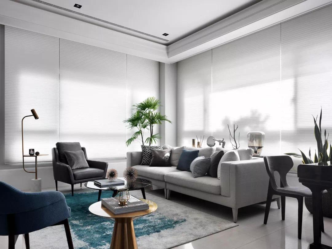 90m2精致黑白灰空间,客厅设隐型门、厨房设岛台,大写的服气