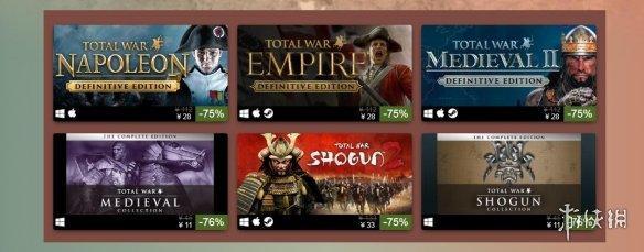 """《全面战争》系列Steam""""历史题材特卖""""开启 2.5折起"""