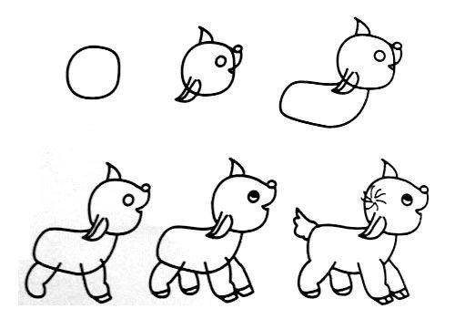 小鹿画画图片 一笔一画画小鹿 其他动物简笔画 百人简笔画 儿童简笔画图片