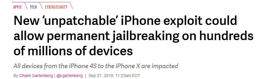 <b>苹果被曝漏洞,还无法修复!从4S到iPhone X均受影响</b>