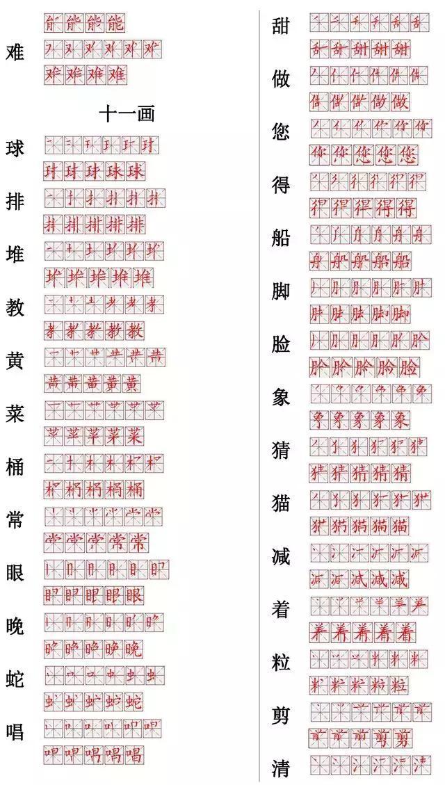 小学常用560个汉字笔画笔顺表,打印下来,小学六年孩子慢慢练