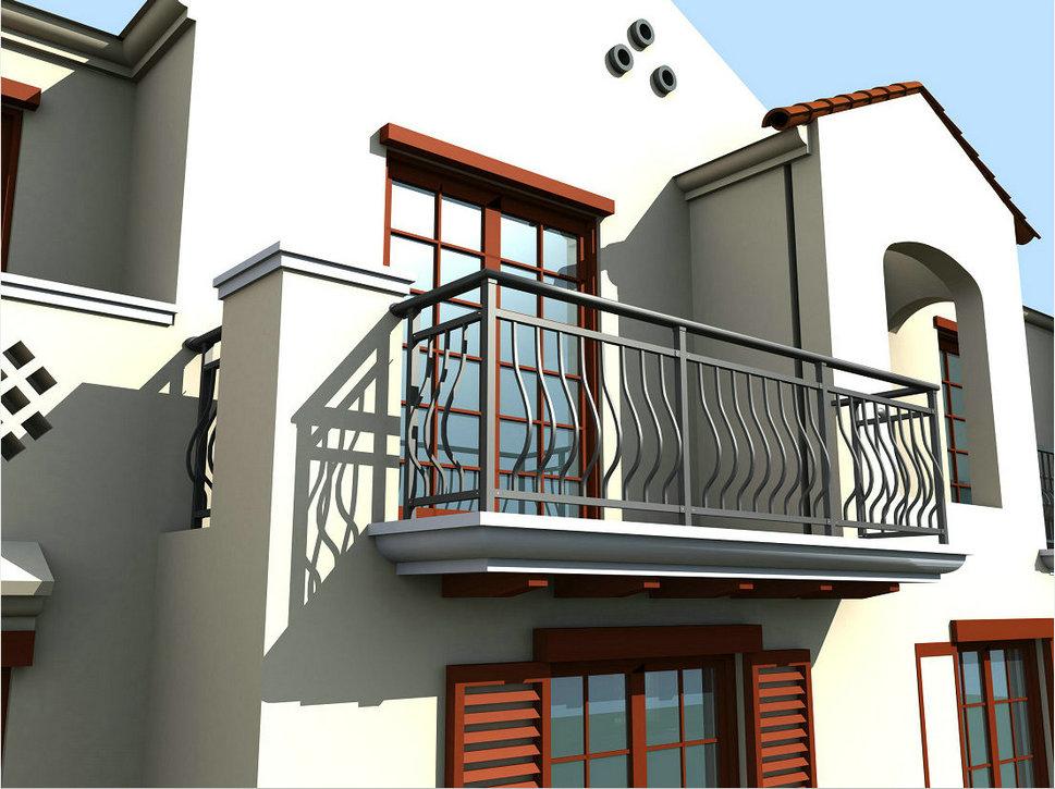河南阳台栏杆图片 封闭式护栏 阳台护栏装修