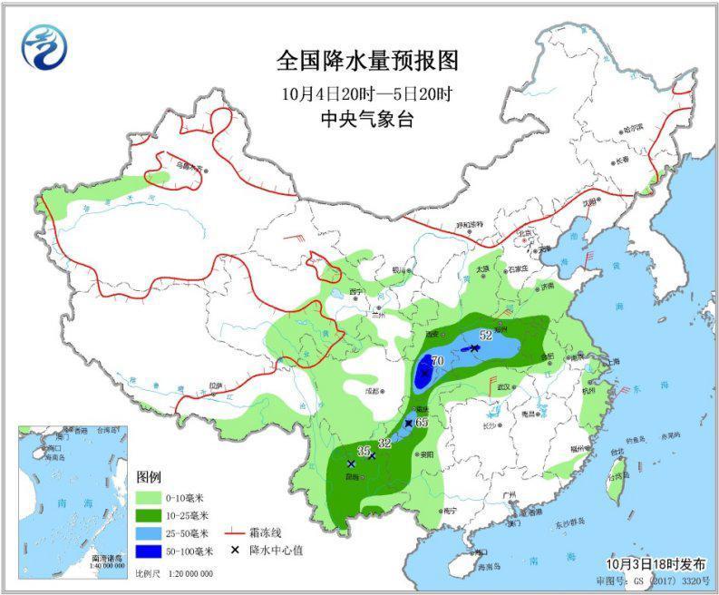 全国降水量预报图