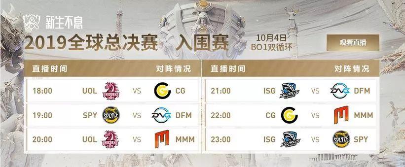 「英雄联盟」S9全球总决赛入围赛第三日赛程!UOL再战CG!