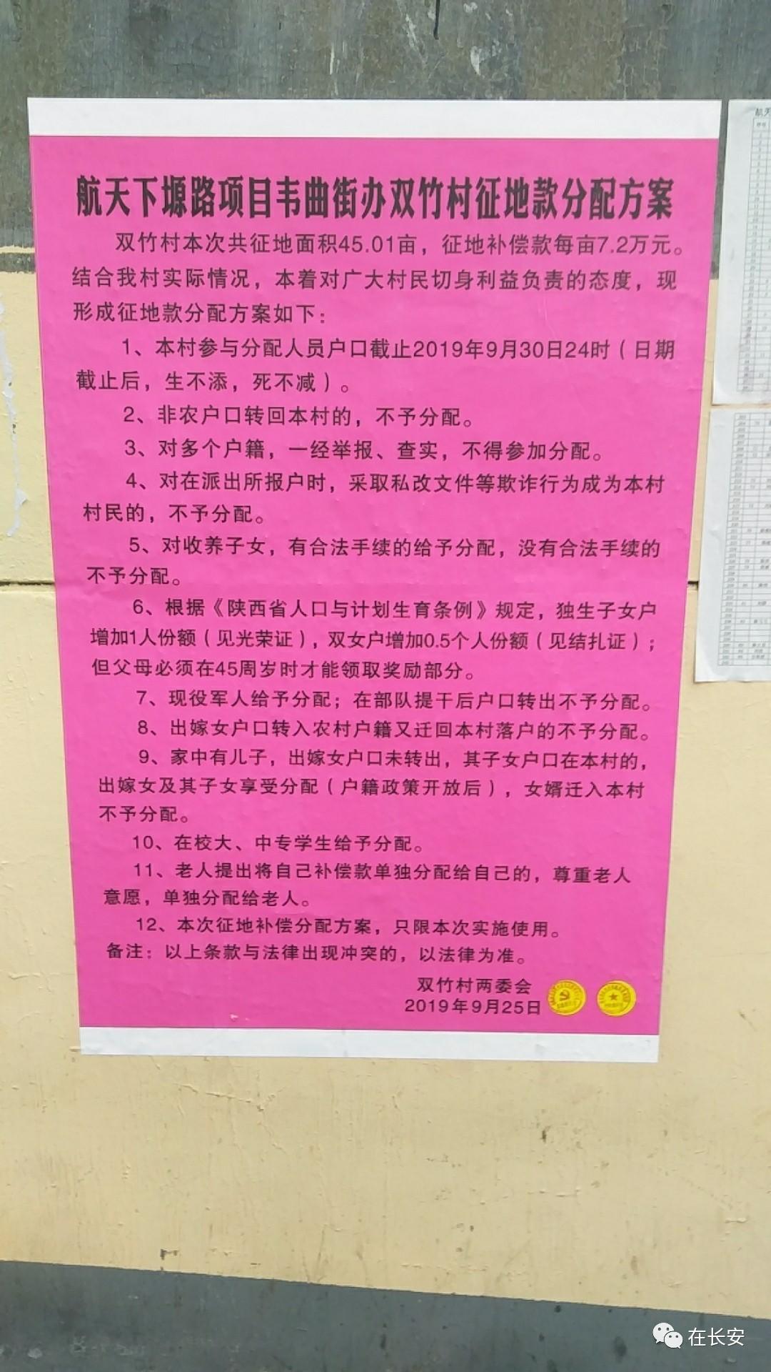 【拆迁安置】韦曲街办双竹村征地款分配方案公布