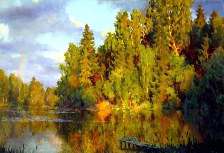 杨柳依依的风景油画,真美!