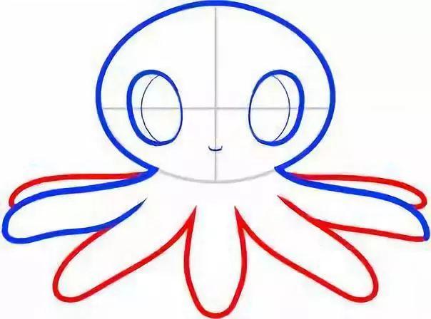 亲子画一画 超级简单的章鱼简笔画教程,快快收藏起来