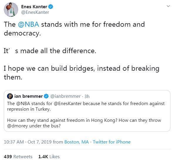 原创             哈登替莫雷道歉了,凯尔特人坎特却发推特支持,莫雷会道歉吗