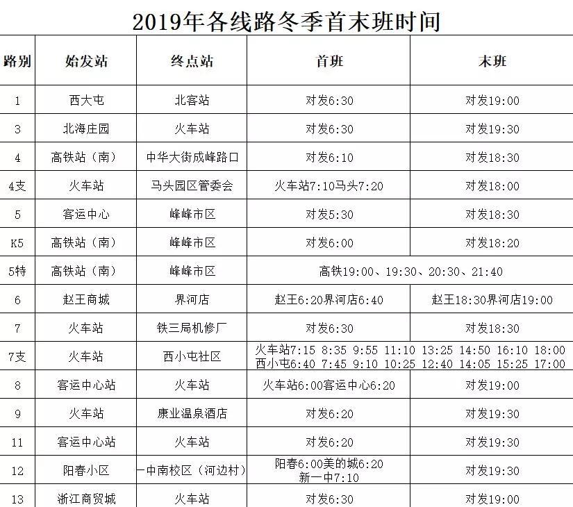 最新通知!今天起,邯郸公交执行冬季运营时间!(含冬季运行时刻表)