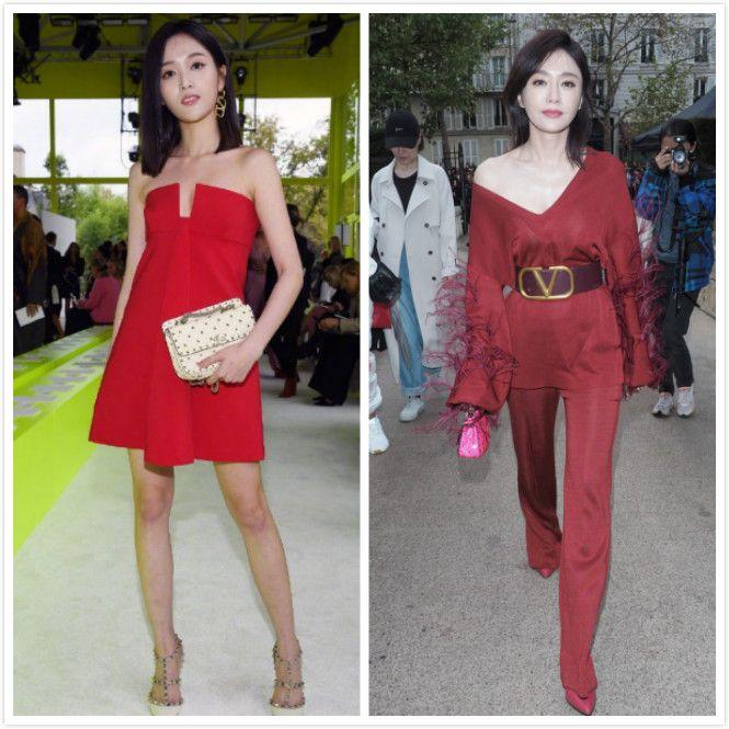 原创             当秦岚和吴宣仪同穿红裙亮相时装周,终于知道气质美和时髦美差距