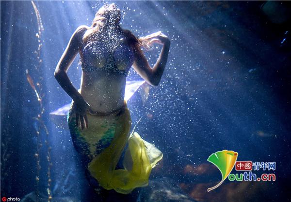 德国艺术家装扮成美人鱼 游泳池里展现优美身姿
