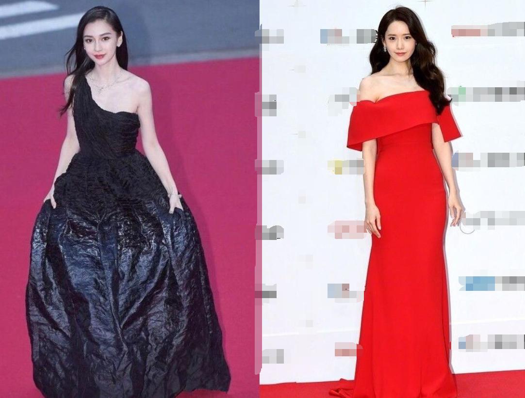 """原创             当杨颖遇上""""韩国第一美女""""林允儿,黑色礼服VS红色礼服谁赢了?"""