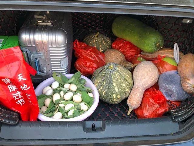萧山小伙十一回家,带回来的土货塞满后备箱!一个月不用买菜