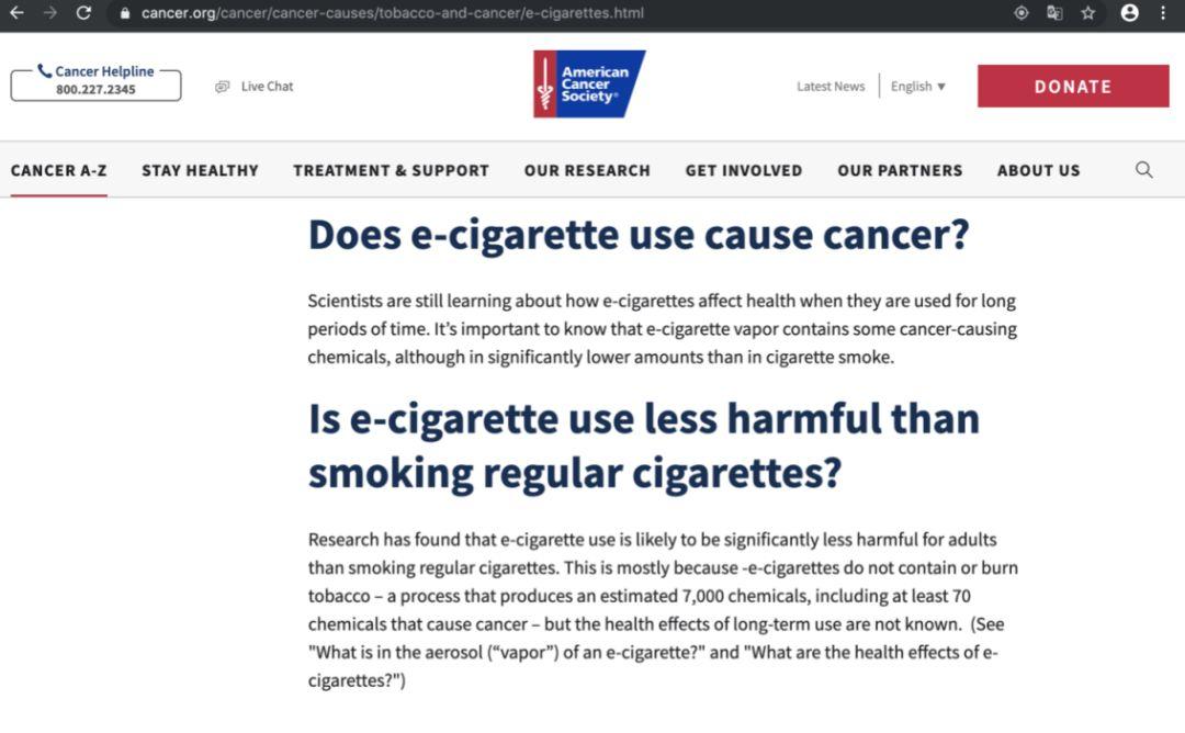 """电子烟""""致癌""""?美国癌症协会:危害显著低于普通香烟-一点财经"""