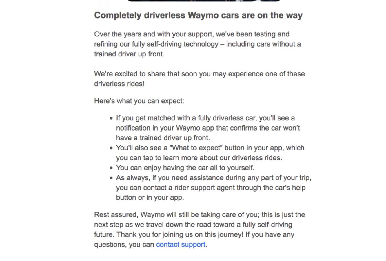 Waymo向用戶發郵件,稱完全無人駕駛的網約車即将到來