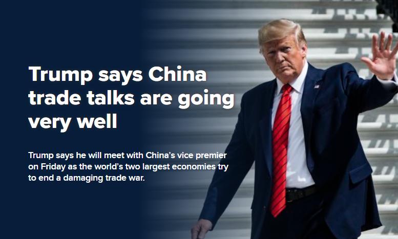特朗普:与中国贸易谈判进展顺利!协议在望,道指反弹150点