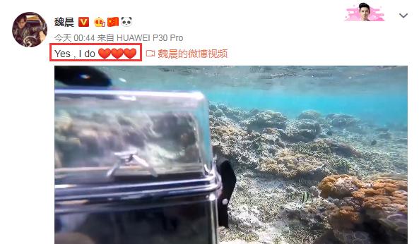 """恭喜!33歲魏晨潛水求婚成功,多年女友變""""魏婚妻"""""""