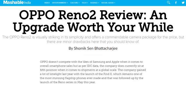 外媒点赞OPPO Reno2:后置四摄表现出众,细节功能满意度高