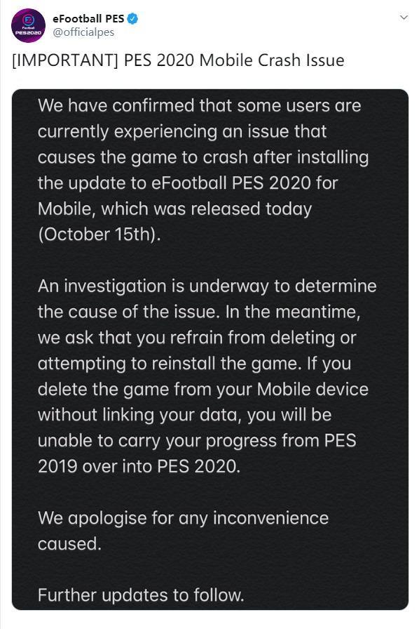 《实况足球2020》移动版老崩溃官方表示千万别删