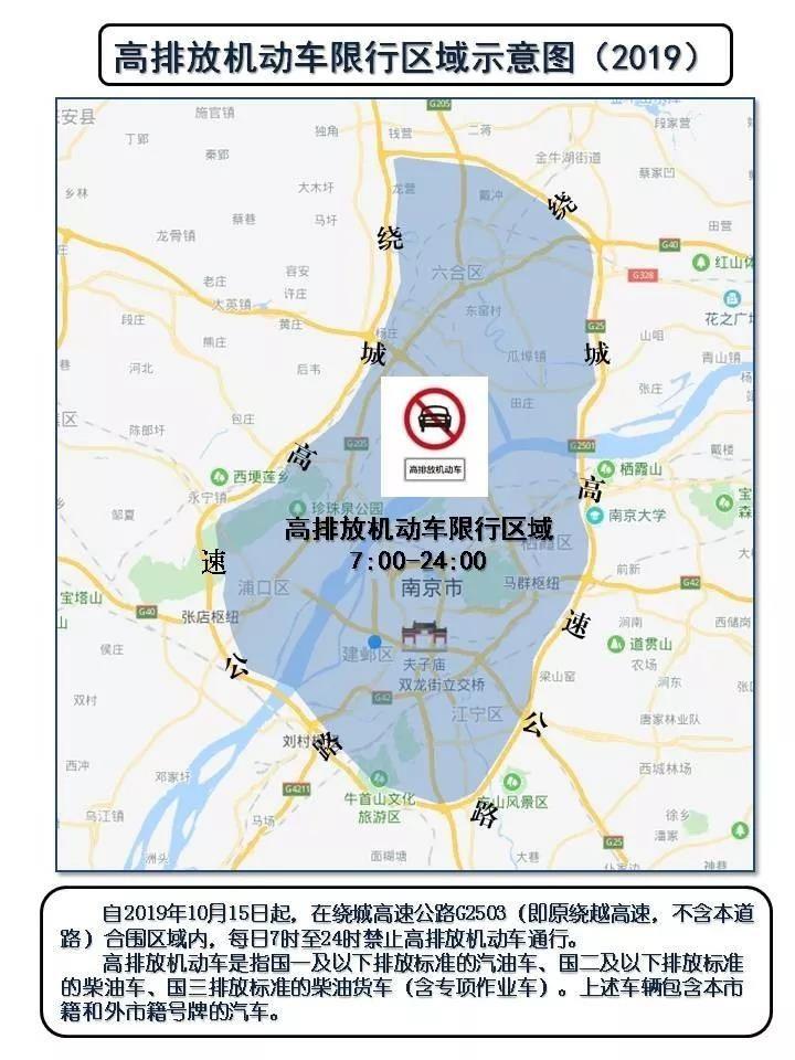 今天起,南京繞城高速公路合圍區域内禁行高排放機動車