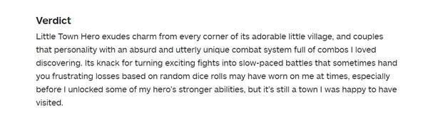 《小镇英雄》IGN7分战斗系统很有魅力但会让人挫败_笔者