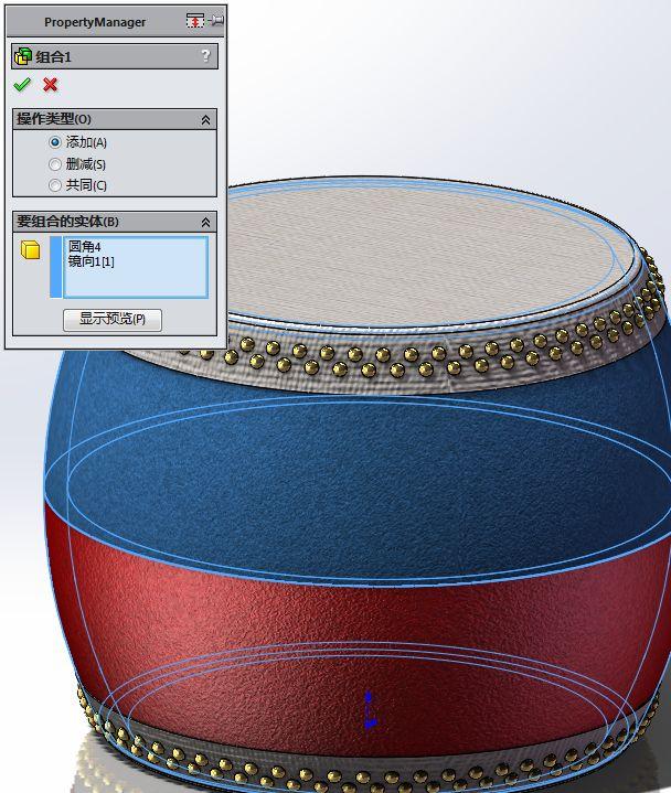 用SW画一个传统大鼓和架子,此图很简单,甚至不需有基础