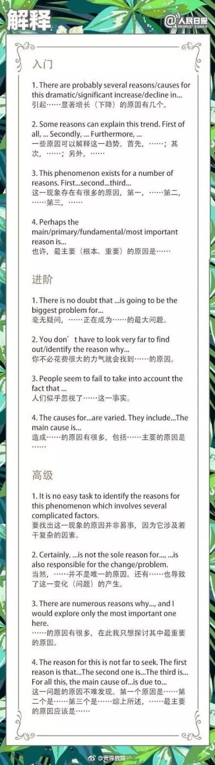 """人民日报:背熟108个""""黄金句式""""英语作文不词穷!"""
