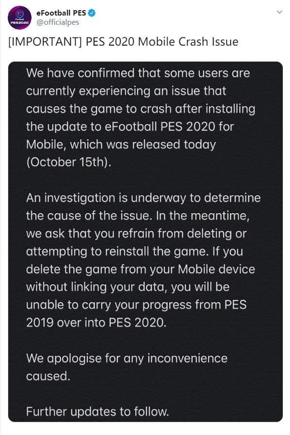 《实况足球2020》移动版频繁崩溃官方回应修复中勿删