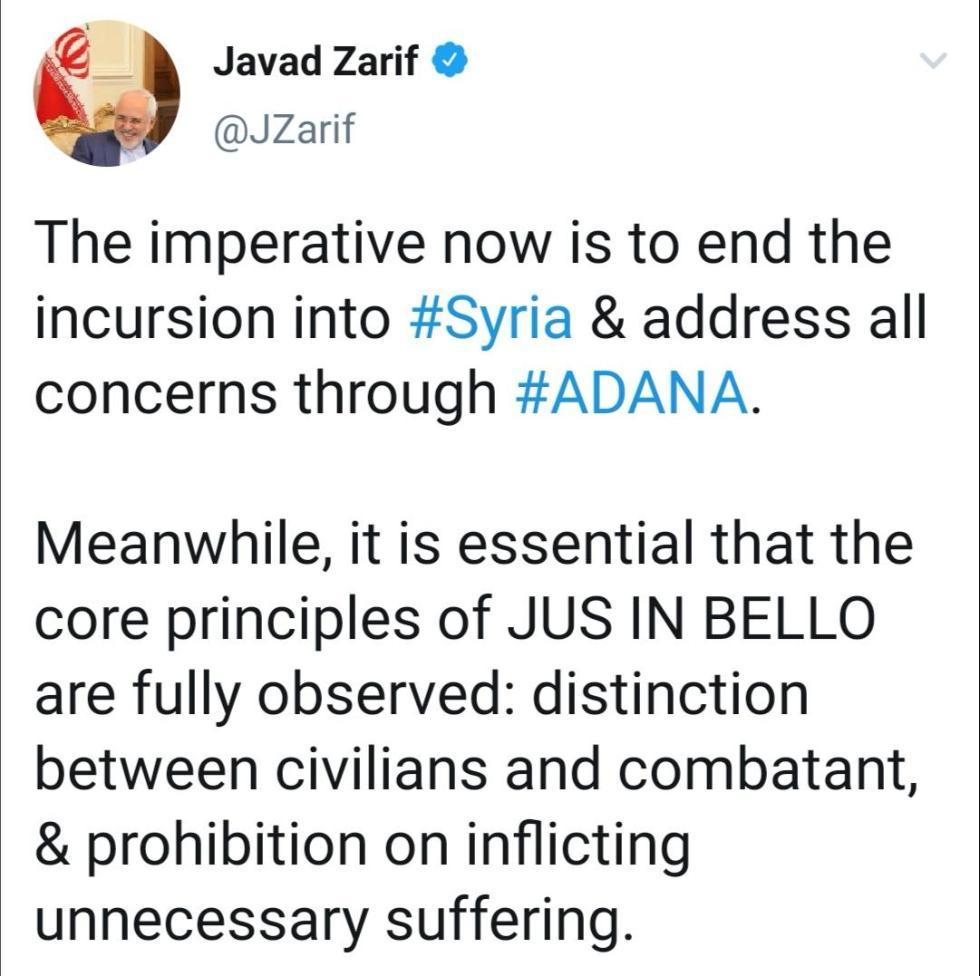 伊朗外長督促土耳其結束對叙利亞的軍事行動