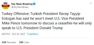 土耳其总统埃尔多安拒与彭斯会面:我只和特朗普谈