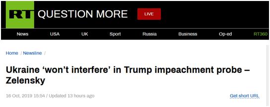 """泽连斯基:乌克兰""""不会干涉""""特朗普弹劾调查"""