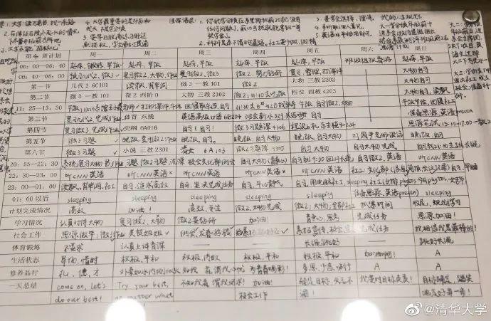 清华学生计划表上热搜:大学是怎样拉开人与人之间的差距?