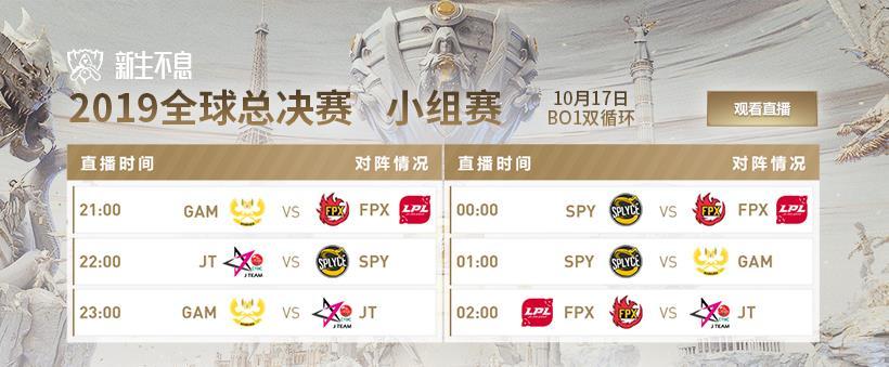英雄联盟S9全球总决赛小组赛第二轮10月17日开始!决定B组排名!