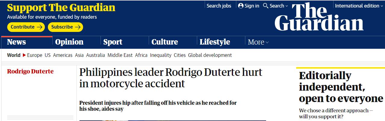 菲律宾总统杜特尔特骑摩托车摔伤,但没住院