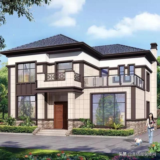 新中式农村别墅设计图 12x10米 房屋设计图纸 农村自建房设计图纸 农村小别墅设计图 柏竣建房