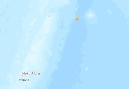 汤加东北部海域发生5.1级地震震源深度10千米