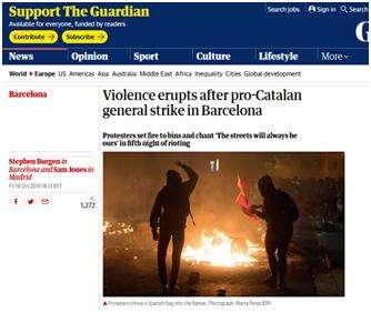 西班牙加泰罗尼亚爆发5日来最大规模抗议活动,警方强势清场