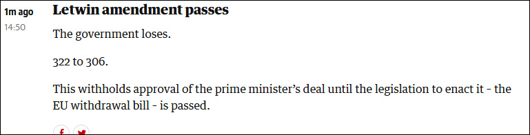 """英国下院通过修正案:将延后表决""""脱欧""""协议"""