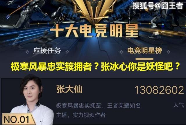 王者荣耀:张大仙第一次参加虎牙十大电竞明星打榜,就成头牌