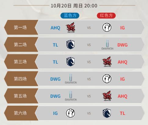 LOLS9总决赛10月20日比赛赛程 iG三场比赛详细赛程时间
