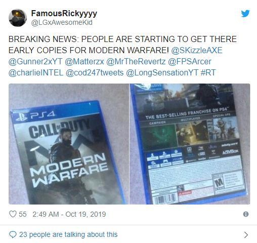 一份250美刀!《COD:现代战争》偷跑网上公然兜售_游戏