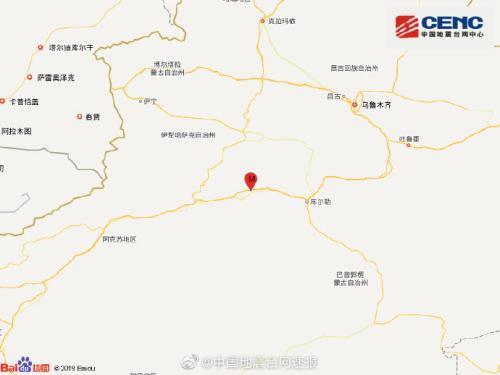 新疆巴音郭楞州轮台县发生3.7级地震震源深度19千米