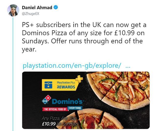 英国PS+用户现在可以在周日100元吃任意尺寸的披萨一直到年底
