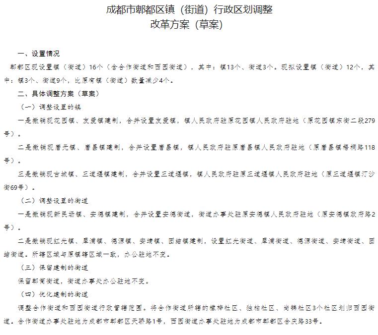 成都郫都区、蒲江县、武侯区、金堂县镇(街道)行政区划调整改革方案(草案)